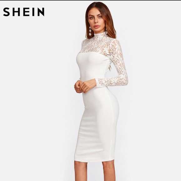 206c670395 SHEIN Dresses | Floral Lace Long Sleeve High Neckline Dress | Poshmark